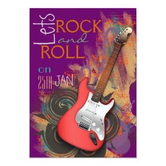 convites de festas da rocha & do rolo da guitarra