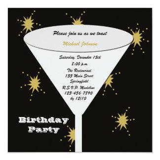 Convites de festas de aniversários adultos - convite quadrado 13.35 x 13.35cm