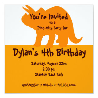 Convites de festas de aniversários alaranjados do convite quadrado 13.35 x 13.35cm