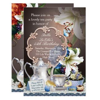 Convites de festas de aniversários bonitos do tea
