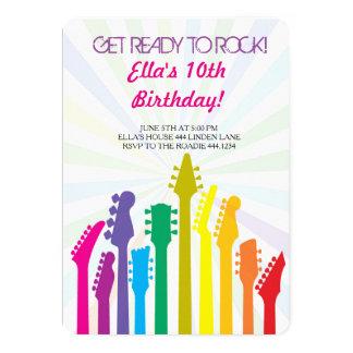 Convites de festas de aniversários da guitarra da