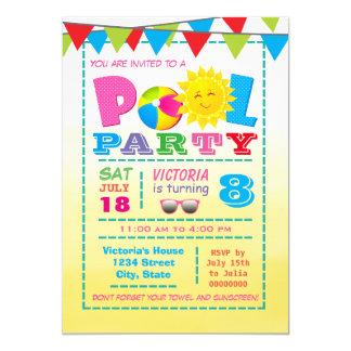 Convites de festas de aniversários da piscina das