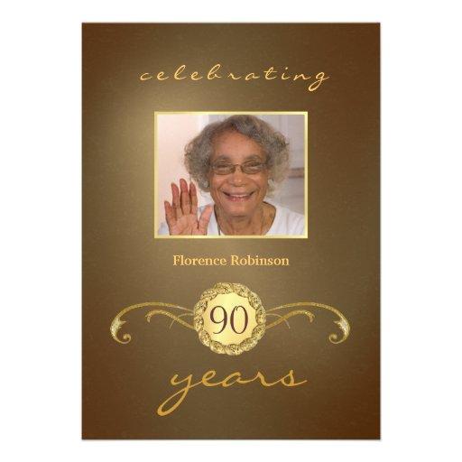 convites de festas de aniversários do 90 - ouro an