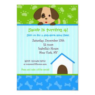 Convites de festas de aniversários do cão de convite 12.7 x 17.78cm