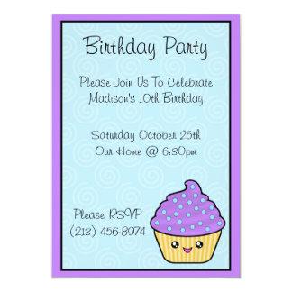 Convites de festas de aniversários do cupcake de