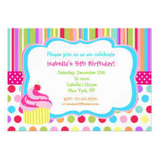 Convites de festas de aniversários do cupcake do a