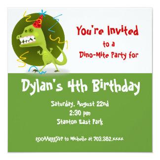 Convites de festas de aniversários do dinossauro convite quadrado 13.35 x 13.35cm