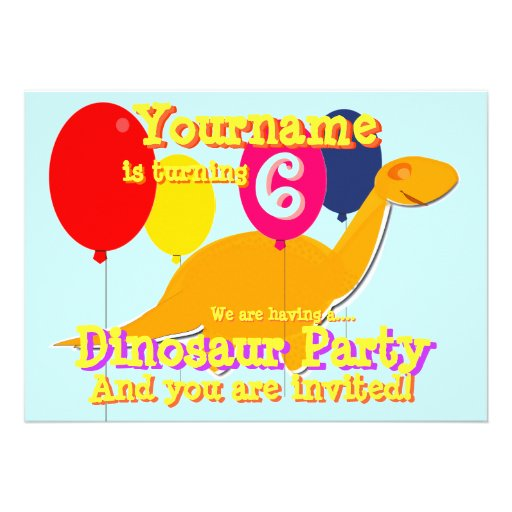 Convites de festas de aniversários do dinossauro b