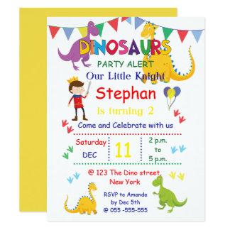 Convites de festas de aniversários do dinossauro e