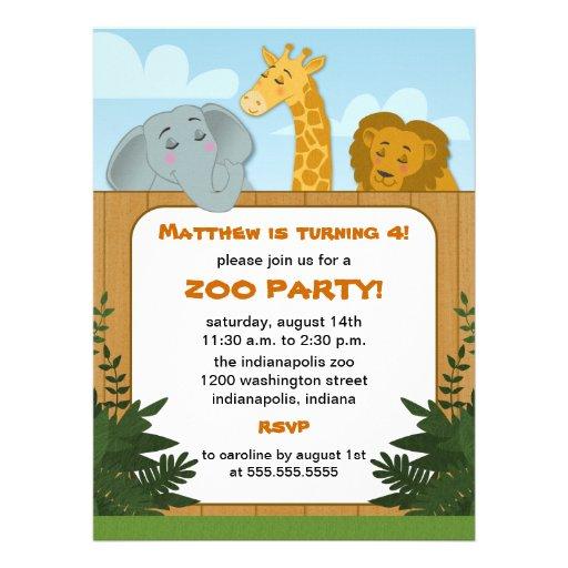 festas aniversario jardim zoologico maia:Kids Zoo Birthday Party Invitations