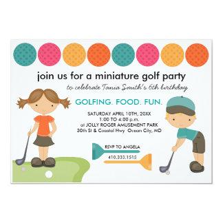 Convites de festas de aniversários do mini golfe
