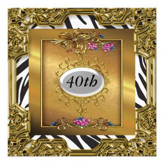 Convites de festas de aniversários do ouro da zebr