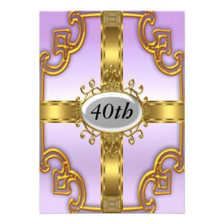 Convites de festas de aniversários do ouro de Purp