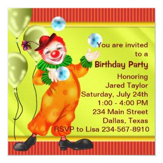 Convites de festas de aniversários do palhaço de convite quadrado 13.35 x 13.35cm