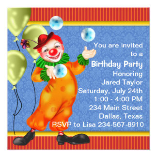 Convites de festas de aniversários do palhaço de c