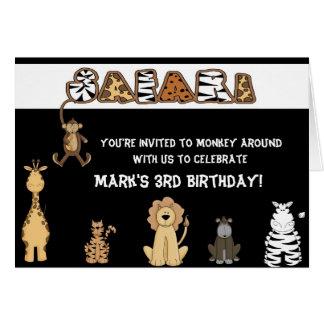 Convites de festas de aniversários do safari cartão comemorativo