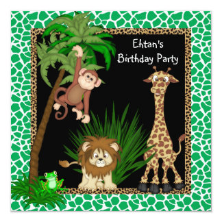 Convites de festas de aniversários do safari de convite quadrado 13.35 x 13.35cm