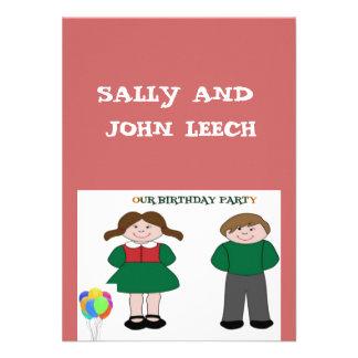 Convites de festas de aniversários dos gêmeos