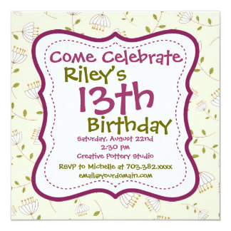 Convites de festas de aniversários florais verdes convite quadrado 13.35 x 13.35cm