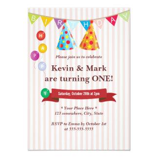 Convites de festas de aniversários gêmeos