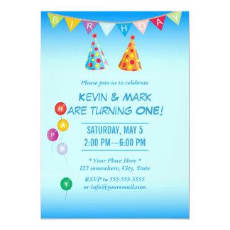 Convites de festas de aniversários gêmeos azuis