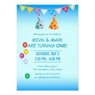 Convites de festas de aniversários gêmeos azuis el