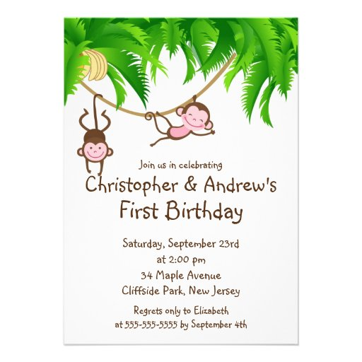 Convites de festas de aniversários gêmeos bonitos
