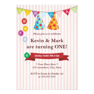 Convites de festas de aniversários gêmeos cor-de-r
