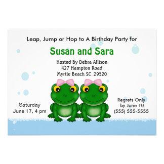 Convites de festas de aniversários gêmeos das meni