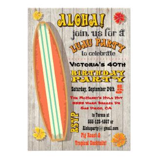 Convites de festas de aniversários havaianos de Lu