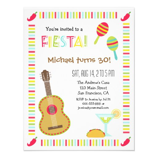 Convites de festas de aniversários mexicanos do