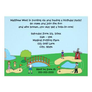 Convites de festas de aniversários mini/mini golfe