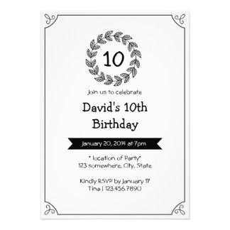Convites de festas de aniversários pretos branco