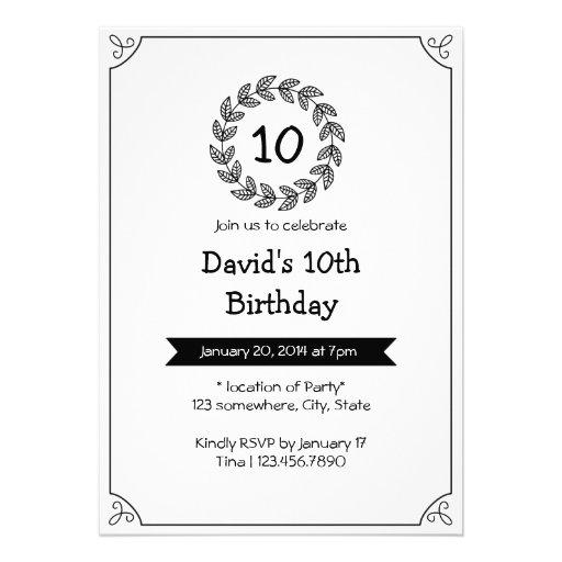 Convites de festas de aniversários pretos & branco