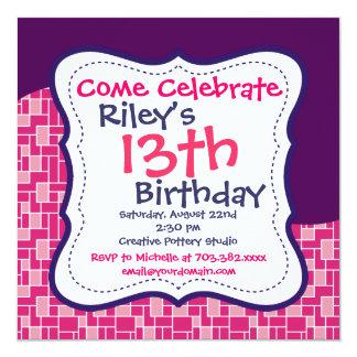 Convites de festas de aniversários roxos convite quadrado 13.35 x 13.35cm