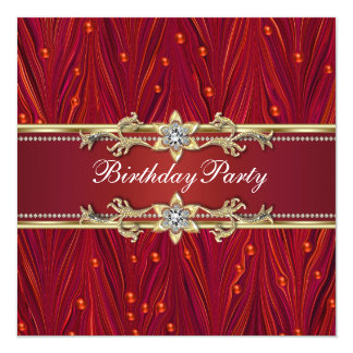 Convites de festas de aniversários vermelhos do