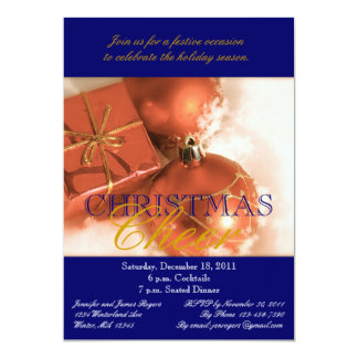 Convites de festas de bronze do comensal de Natal