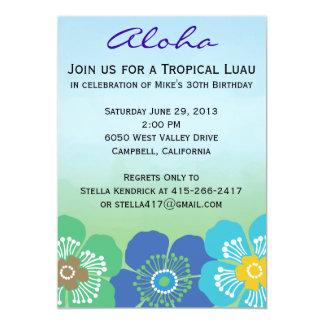 Convites de festas de Luau - calipso
