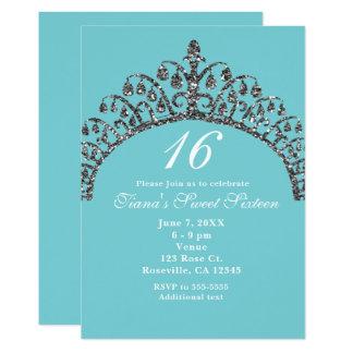 Convites de festas de prata da coroa da tiara do
