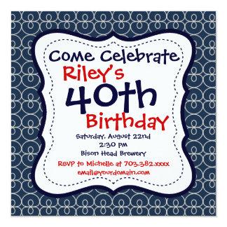 Convites de festas do aniversário de 40 anos dos convite quadrado 13.35 x 13.35cm