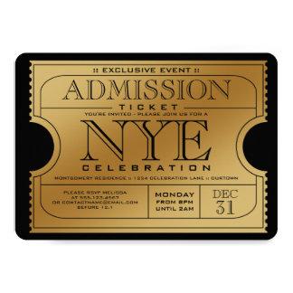 Convites de festas do bilhete do ouro de NYE