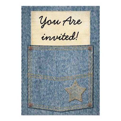 Convites de festas do bolso de jeans