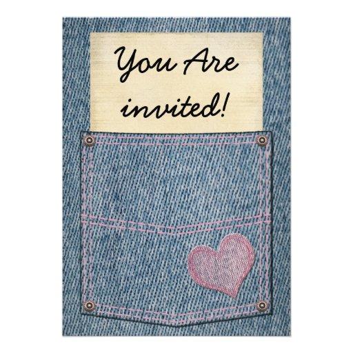Convites de festas do bolso de jeans das meninas