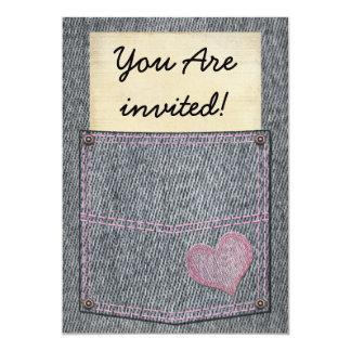 Convites de festas do bolso de jeans das meninas convite 12.7 x 17.78cm