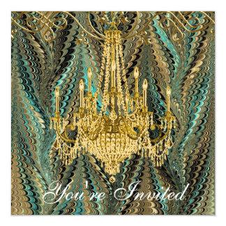 Convites de festas do candelabro do ouro verde de convite quadrado 13.35 x 13.35cm