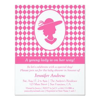 Convites de festas do chá da senhora cor-de-rosa convite 10.79 x 13.97cm