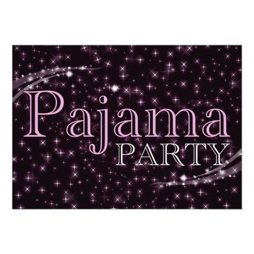 convites de festas do pijama: starshine