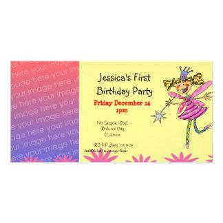 Convites de festas do primeiro aniversario (fada d cartão com foto