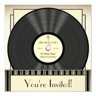 Convites de festas do registro de vinil do