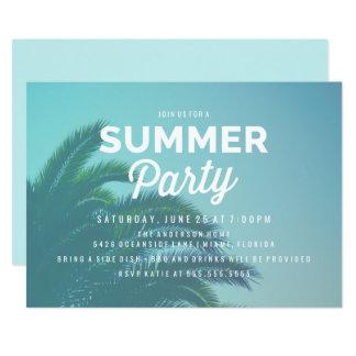 Convites de festas do verão da palmeira